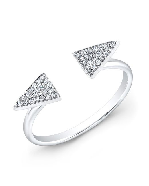 Anne Sisteron | 14kt White Gold Diamond Double Triangle Ring | Lyst