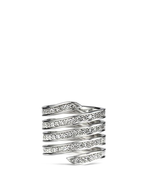 Lynn Ban | Metallic 'pavé Coil' Diamond Sterling Silver Ring | Lyst