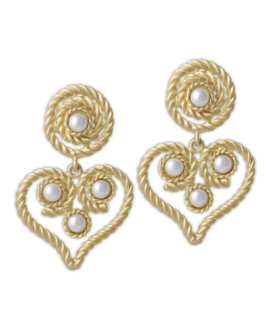 Kenneth Jay Lane | Metallic White Pearl Heartshape Drop Clip Earring | Lyst