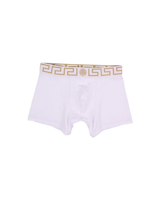 Versace | Iconic Long Boxer Brief With White And Gold Band for Men | Lyst