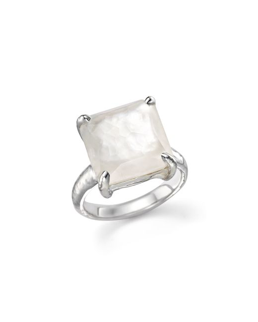 Ippolita | White Sterling Silver Wonderland Medium Square Stone Ring In Clear Quartz And Mother-of-pearl Doublet | Lyst