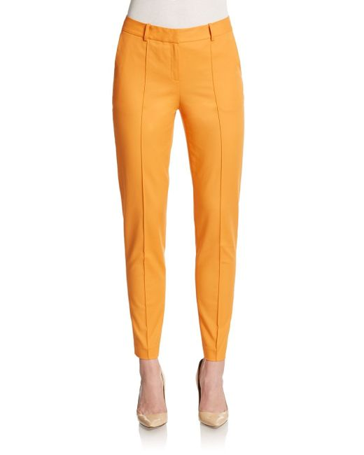 Lafayette 148 New York | Orange Pintuck Seam Straight-leg Pants | Lyst