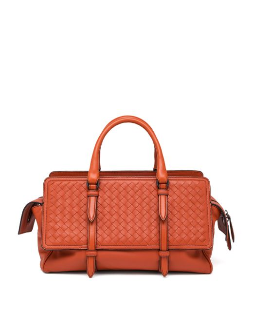 Bottega Veneta | Orange Belted Basket-weave Leather Satchel | Lyst