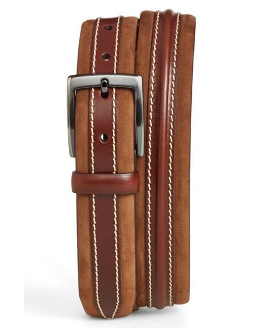 Mezlan | Metallic 'parma' Leather & Nubuck Belt for Men | Lyst