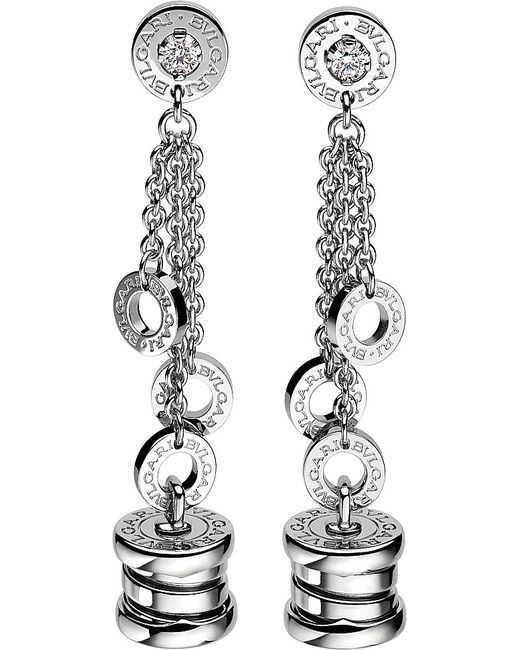 BVLGARI | Metallic B.zero1 Mini 18ct White-gold Pendant Earrings | Lyst