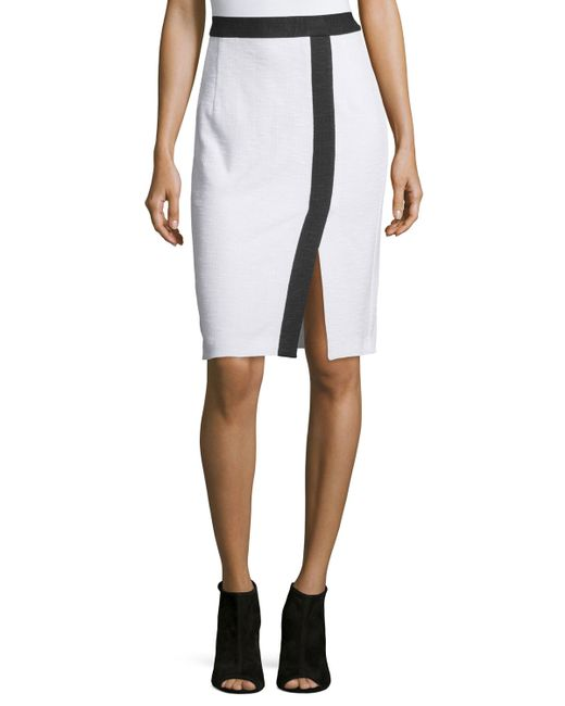 nanette lepore two tone pencil skirt in white save 17