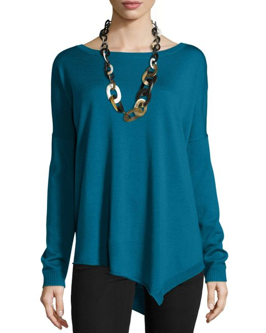 Eileen Fisher | Blue Merino Jersey Asymmetric Tunic | Lyst