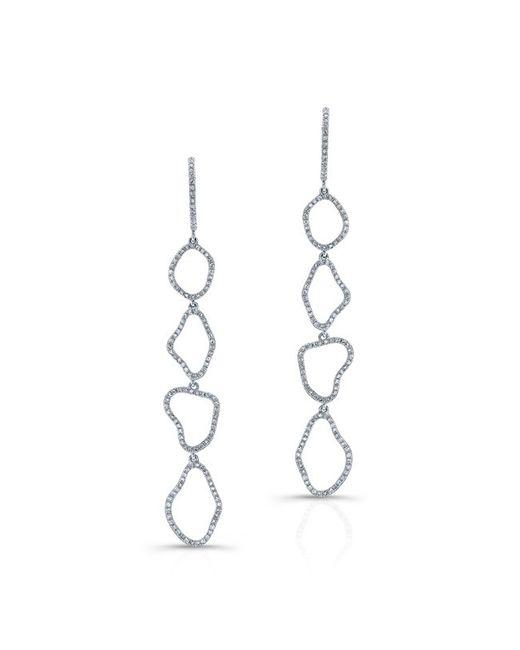 Anne Sisteron - 14kt White Gold Diamond Organic Open Drop Earrings - Lyst