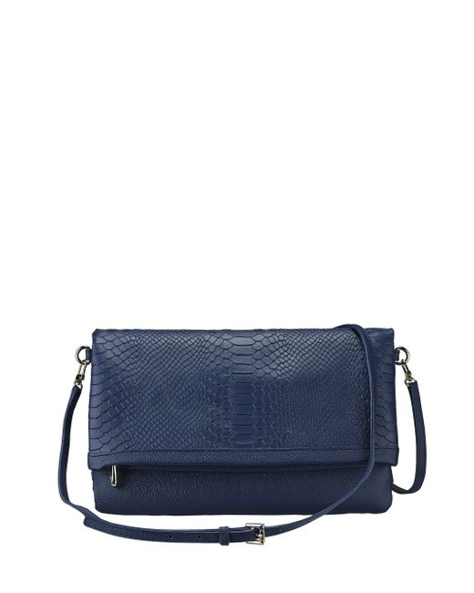 Gigi New York | Blue Carly Python-embossed Leather Convertible Clutch | Lyst