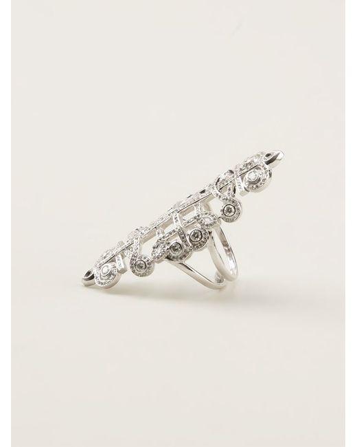 Nikos Koulis | Metallic Pavé Diamond Embellished Ring | Lyst