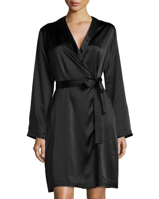La Perla | Black Silk Long-sleeve Short Robe | Lyst