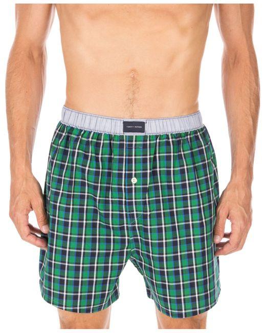 tommy hilfiger plaid boxers 09t2830 in green for men chive save. Black Bedroom Furniture Sets. Home Design Ideas