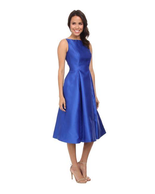 Adrianna Papell   Blue Sleeveless Tea Length Dress   Lyst
