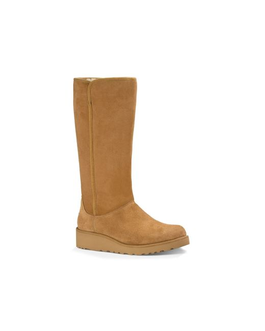 ugg 174 kara slim tall demi wedge boots in brown chestnut