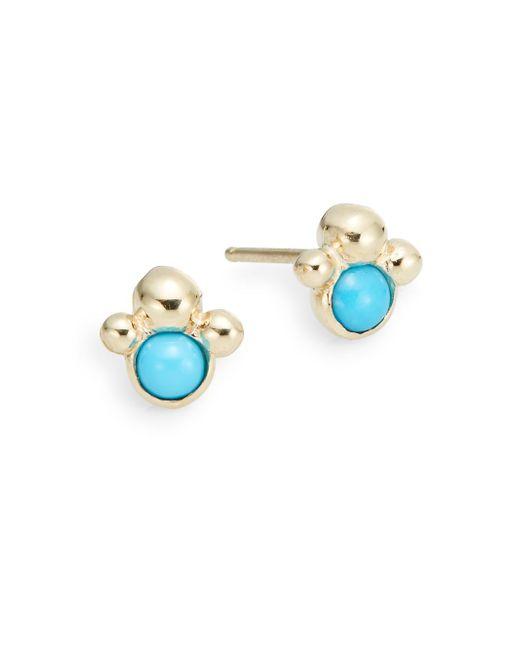 Anzie | Metallic Dew Drop Turquoise & 14k Yellow Gold Stud Earrings | Lyst