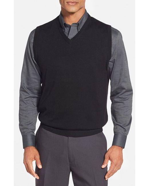 Cutter & Buck | Black 'douglas' Merino Wool Blend V-neck Sweater Vest for Men | Lyst