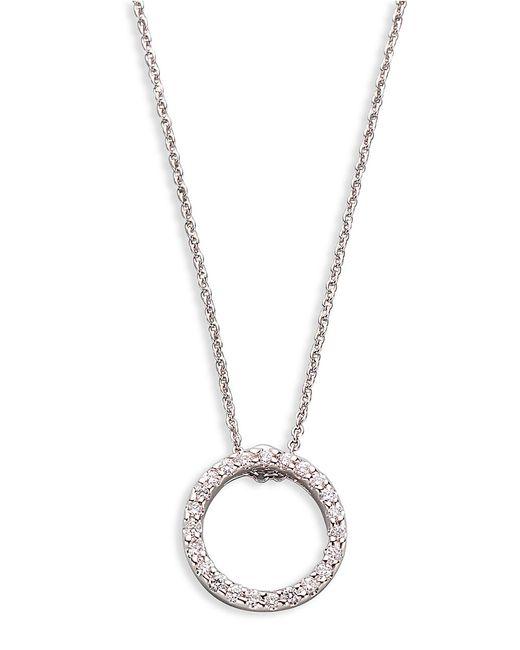 Roberto Coin   18K White Large Diamond Circle Pendant Necklace   Lyst