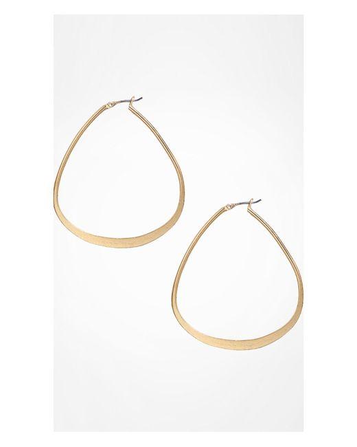 Express | Metallic Triangular Metal Hoop Earrings | Lyst