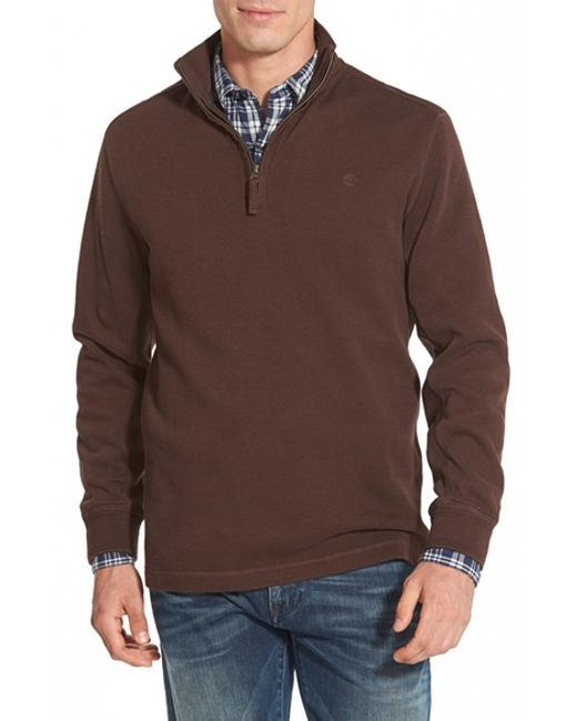 Timberland | Brown 'canoe River' Quarter Zip Pullover for Men | Lyst