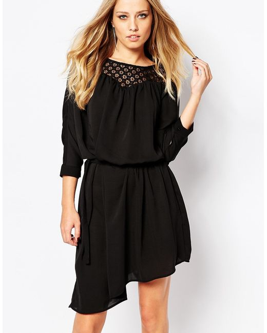 Y.A.S | Black Annabelle Tie Dress With Lace | Lyst