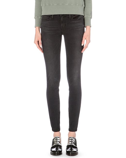 FRAME | Black Le Stacked Skinny Mid-rise Jeans | Lyst