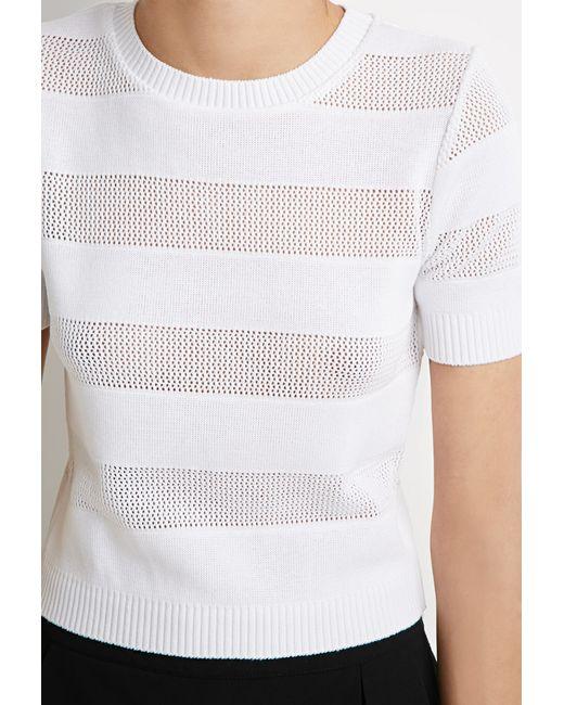 Forever 21 | White Stripe-paneled Sweater | Lyst