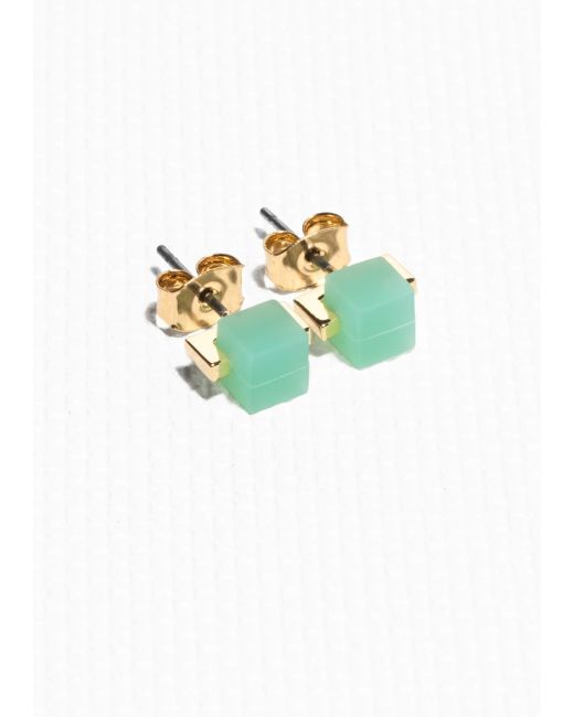 & Other Stories | Green Cube Stud Earrings | Lyst