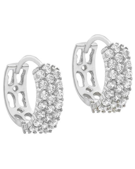 Ib&b | Metallic 9ct White Gold 3 Row Cubic Zirconia Hoop Earrings | Lyst