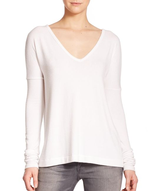 Rag & Bone | White Theo Long-sleeve V-neck Tee | Lyst