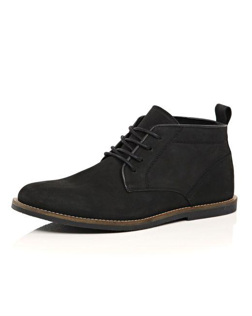 river island black nubuck leather desert boots in black