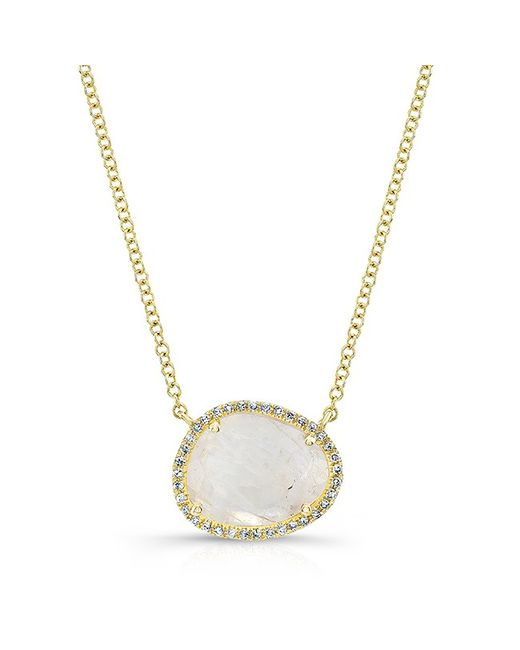 Anne sisteron 14kt Yellow Gold Moonstone Diamond Necklace ...