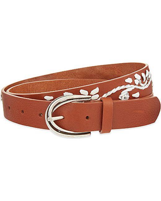 maje andrea floral leather belt in brown camel save 31
