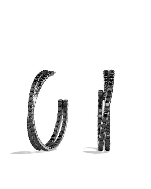 David Yurman | Crossover Hoop Earrings With Black Diamonds In White Gold | Lyst