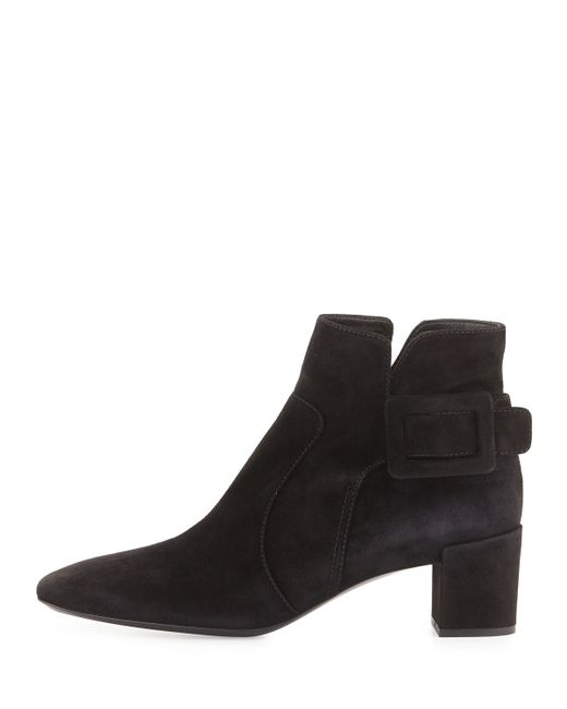 Roger Vivier | Black Polly Suede Side-buckle Ankle Boot | Lyst