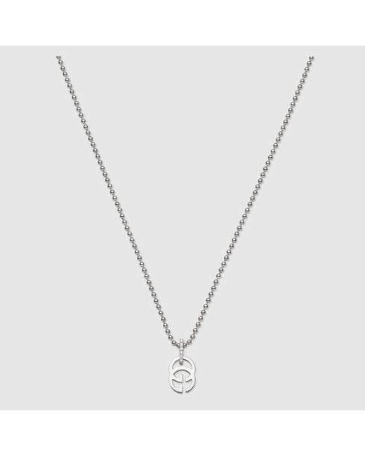 Gucci | Metallic White Gold Running G Necklace | Lyst