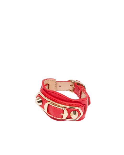 Balenciaga | Red Classic Metallic Edge Bracelet | Lyst