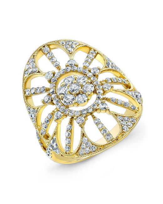Anne Sisteron - 18kt Yellow Gold Diamond Shield Ring - Lyst
