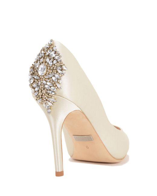 Badgley Mischka | Natural Nilla Embellished Heel Evening Shoe | Lyst
