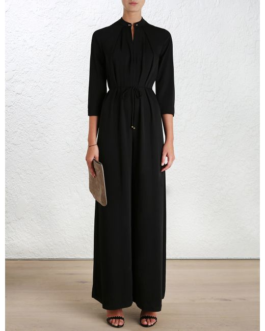 zimmermann baton tuck jumpsuit in black save 50 lyst