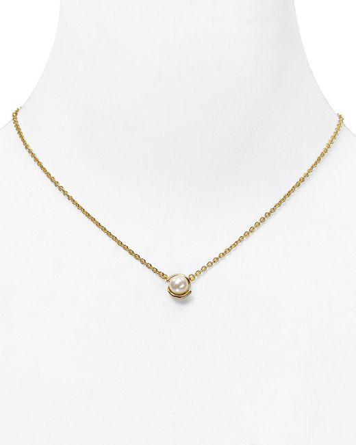 Kate Spade | Metallic Dainty Sparklers Faux Pearl Pendant Necklace, 17"