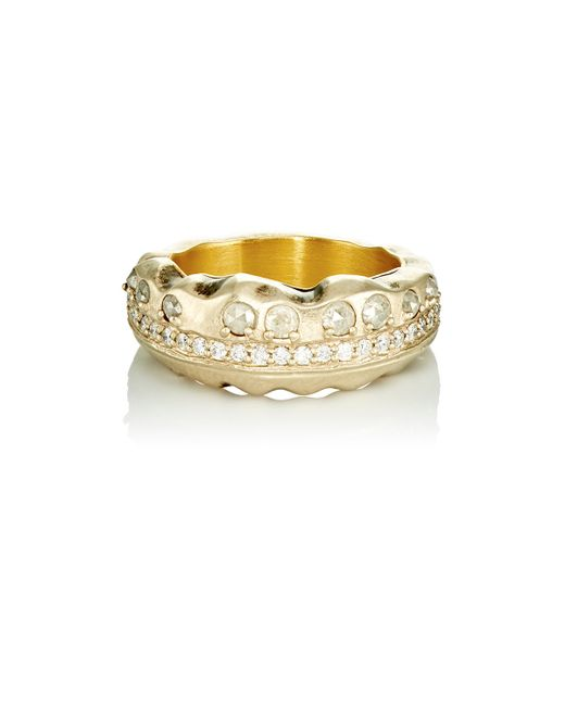 Nak armstrong women39s rustic diamond ring in gold lyst for Nak armstrong wedding ring
