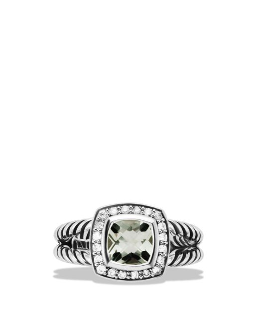 David Yurman | Metallic Petite Albion Ring With Prasiolite & Diamonds | Lyst
