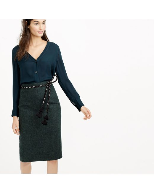J.Crew   Green No. 2 Pencil Skirt In Donegal Wool   Lyst