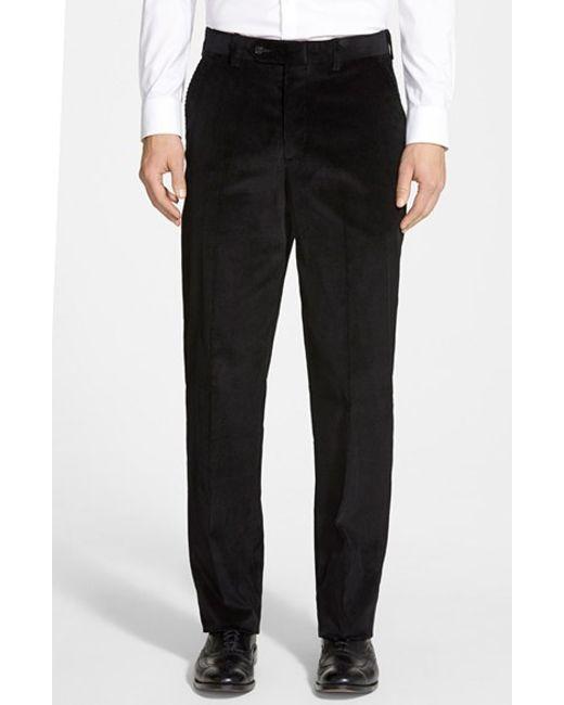 Berle   Black Flat Front Corduroy Trousers for Men   Lyst