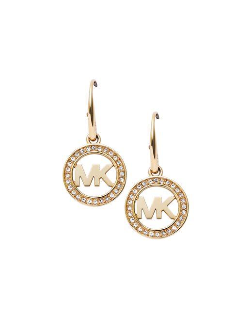 Michael Kors | Metallic Pave Logo Earrings | Lyst