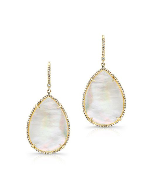 Anne Sisteron | White 14kt Yellow Gold Mother Of Pearl Diamond Pear Earrings | Lyst