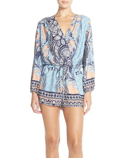 Fraiche By J | Blue Print Long Sleeve Romper | Lyst
