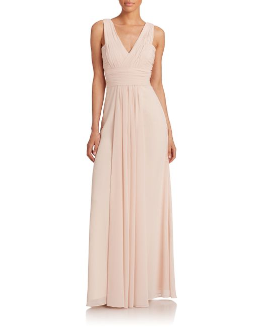 Monique Lhuillier Bridesmaids | Pink Pleated Chiffon V-neck Gown | Lyst