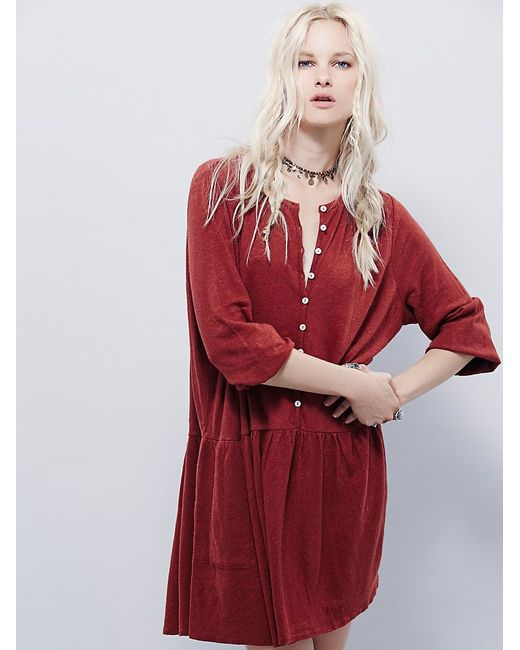 Free People | Red Button Up Dress | Lyst