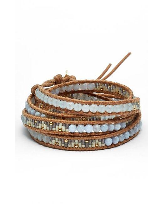 Chan Luu | Blue Beaded Leather Wrap Bracelet - Periwinkle Mix | Lyst